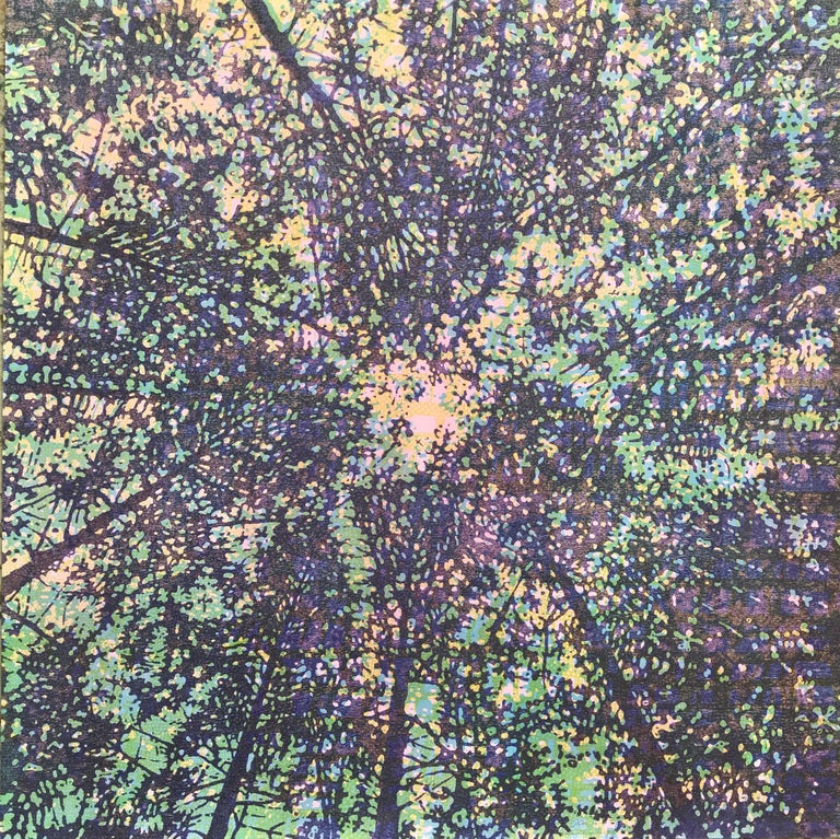 Eve Stockton Landscape Print - Woodland Skyscape Variation 95, Forest Sky Woodcut in Purple, Green, Yellow