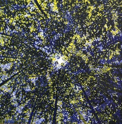 Woodland Skyscape 96, Woodcut Print of Forest Sky with Trees in Blue, Yellow