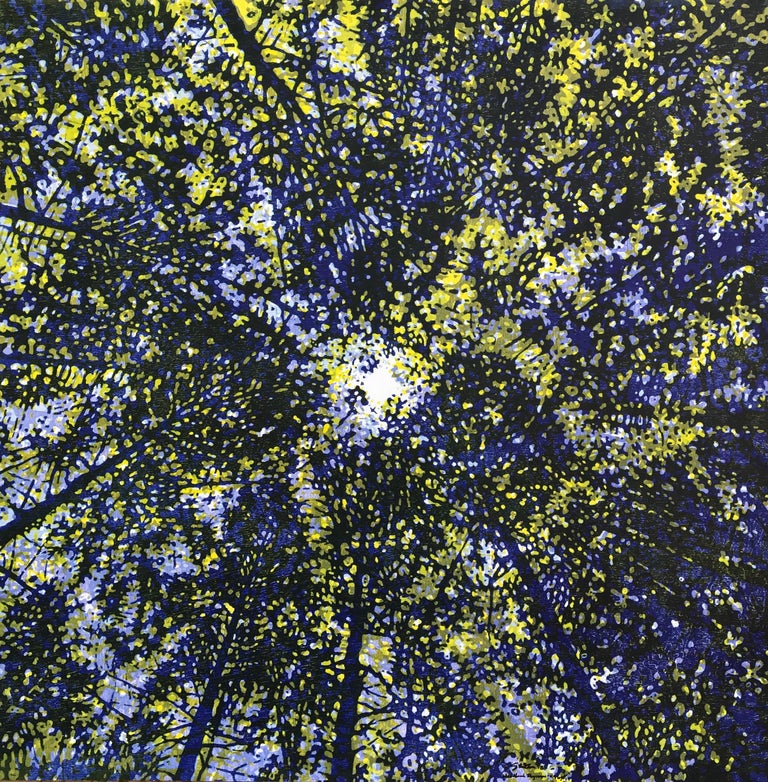 Eve Stockton Abstract Print - Woodland Skyscape Variation 96, Woodcut of Forest Sky with Trees in Blue, Yellow
