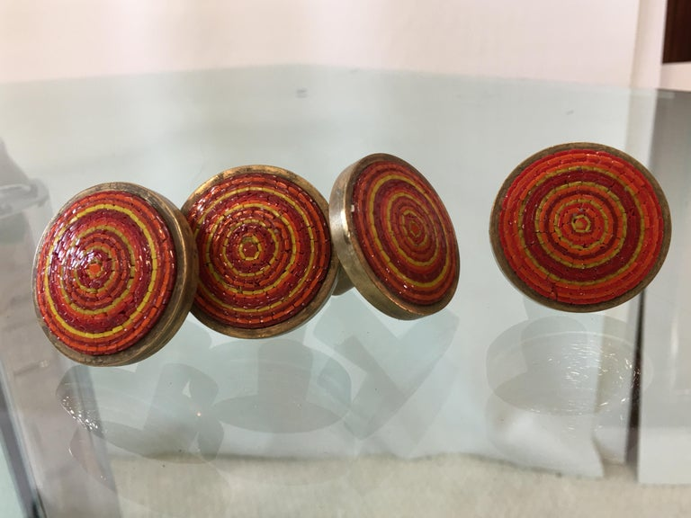 Mid-20th Century Evelyn Ackerman Brass and Micro-Mosaic Drawer Pulls For Sale