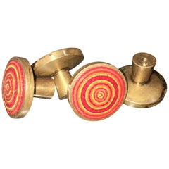 Evelyn Ackerman Brass and Micro-Mosaic Drawer Pulls