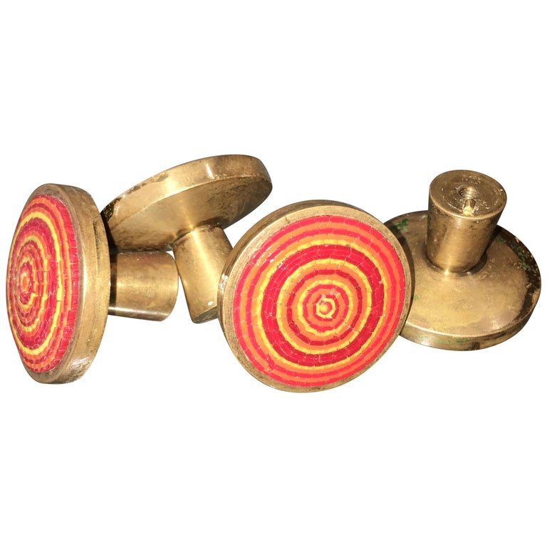 Evelyn Ackerman Brass and Micro-Mosaic Drawer Pulls For Sale
