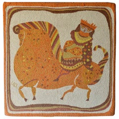 Evelyn Ackerman Hooked Wool Tapestry Titled 'Equestrian' circa 1959