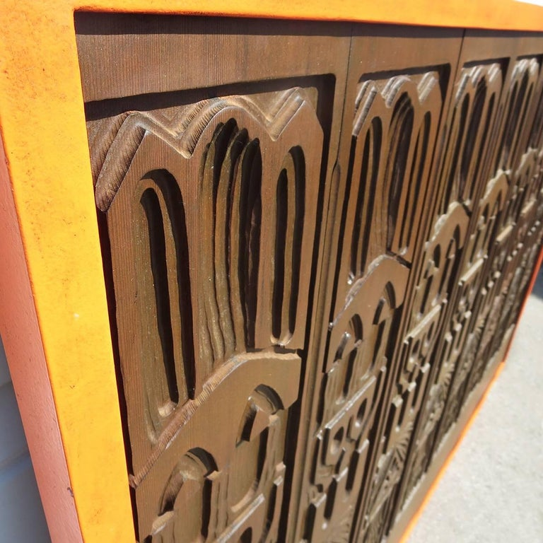 Carved Evelyn Ackerman Panelcarve Wall Sculpture Designed, 1963 For Sale