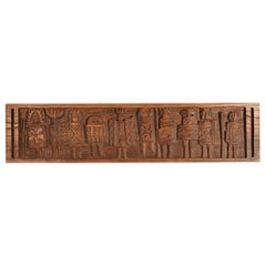 Evelyn Ackerman Tribal Warriors Carved Bas Relief Panel Era Industries