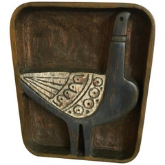 Evelyn Ackerman Wood Carved Bird Plaque
