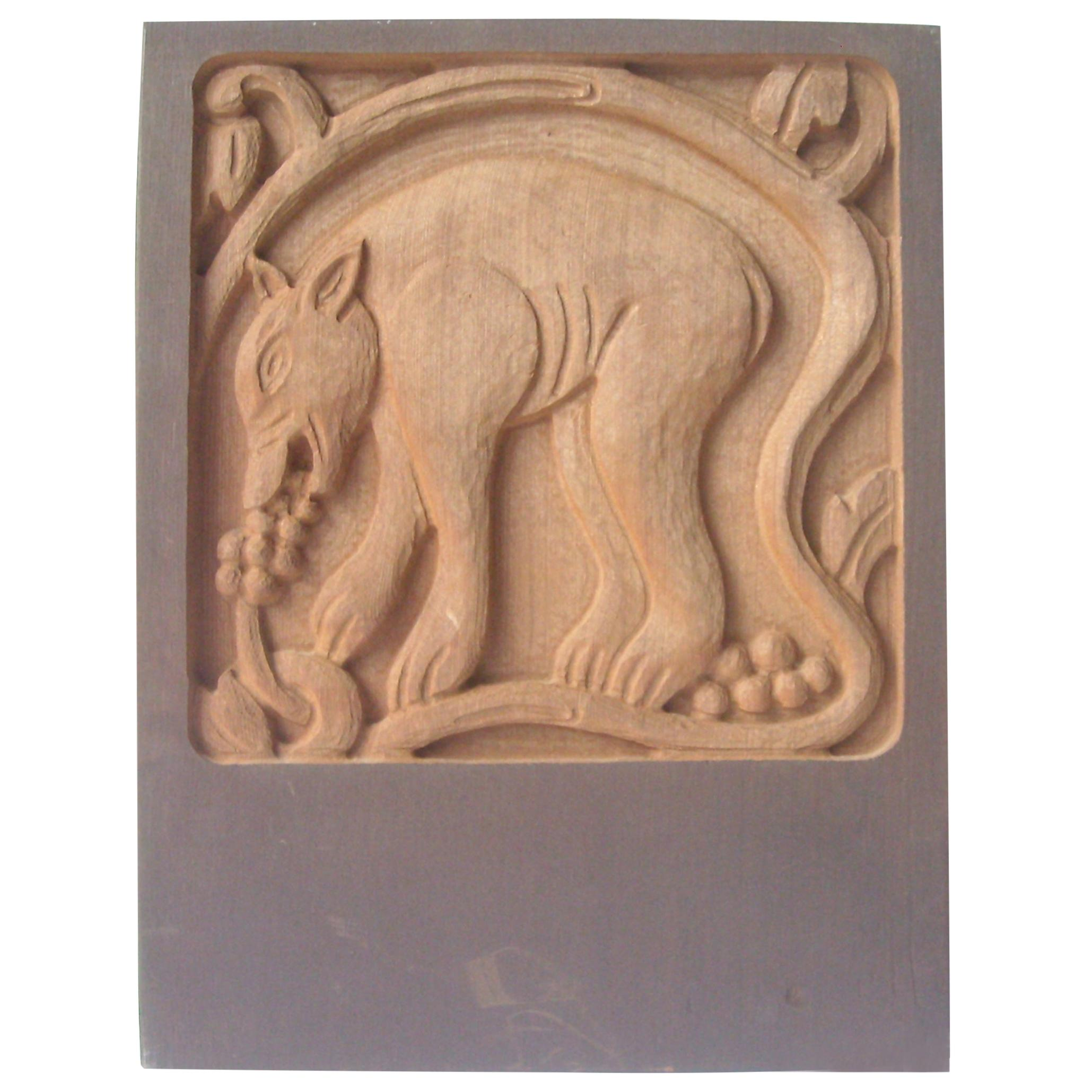 """Evelyn and Jerry Jerome Ackerman """"Bear"""" Carving/Sculpture Panel, Era Industries"""