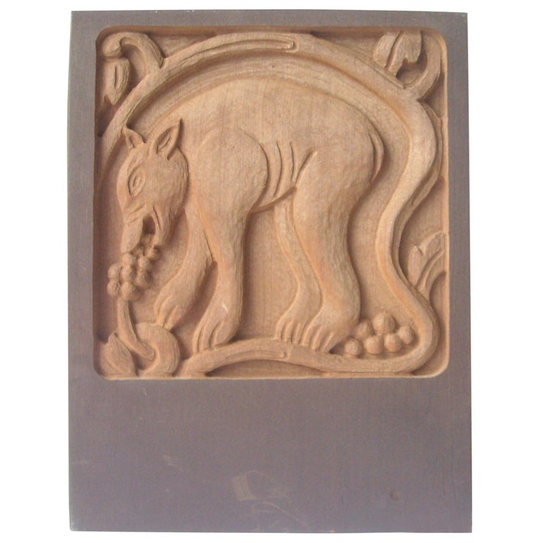 "Evelyn and Jerry Jerome Ackerman ""Bear"" Carving/Sculpture Panel, Era Industries For Sale"