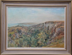 The Landslip Coastal View - British 1920s art landscape oil painting NEAC artist