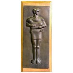 Evelyn Raymond America Sculptor Midcentury Bronze Sculpture Plaque, 1950