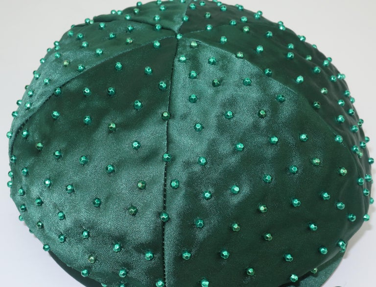 Evelyn Varon Green Satin Beaded Hat, 1950's For Sale 5