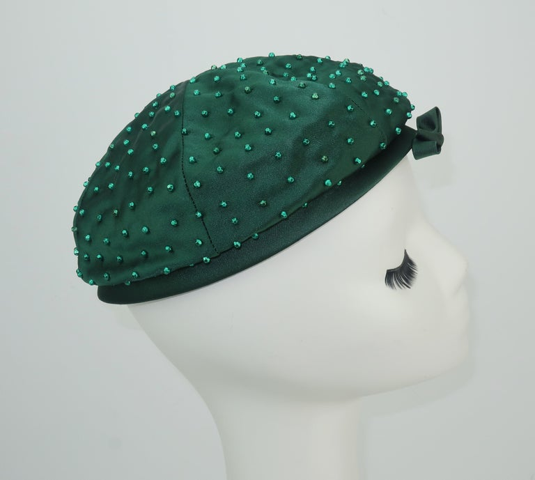 Women's Evelyn Varon Green Satin Beaded Hat, 1950's For Sale