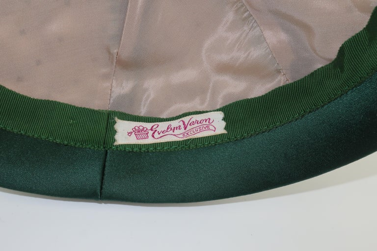 Evelyn Varon Green Satin Beaded Hat, 1950's For Sale 2