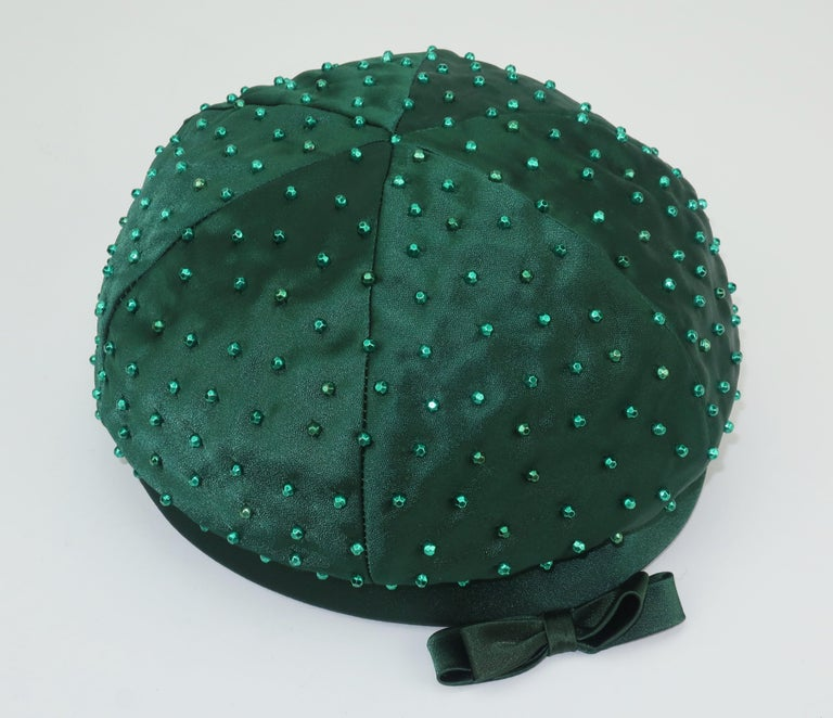 Evelyn Varon Green Satin Beaded Hat, 1950's For Sale 3