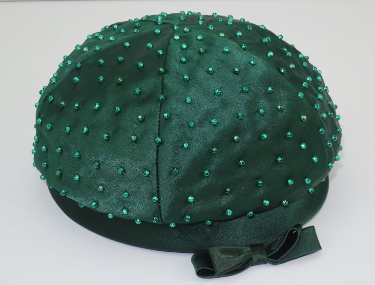 Evelyn Varon Green Satin Beaded Hat, 1950's For Sale 4