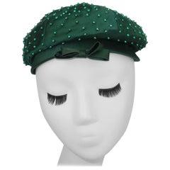 Evelyn Varon Green Satin Beaded Hat, 1950's