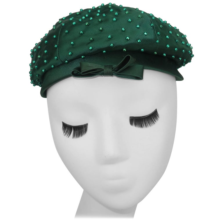 Evelyn Varon Green Satin Beaded Hat, 1950's For Sale