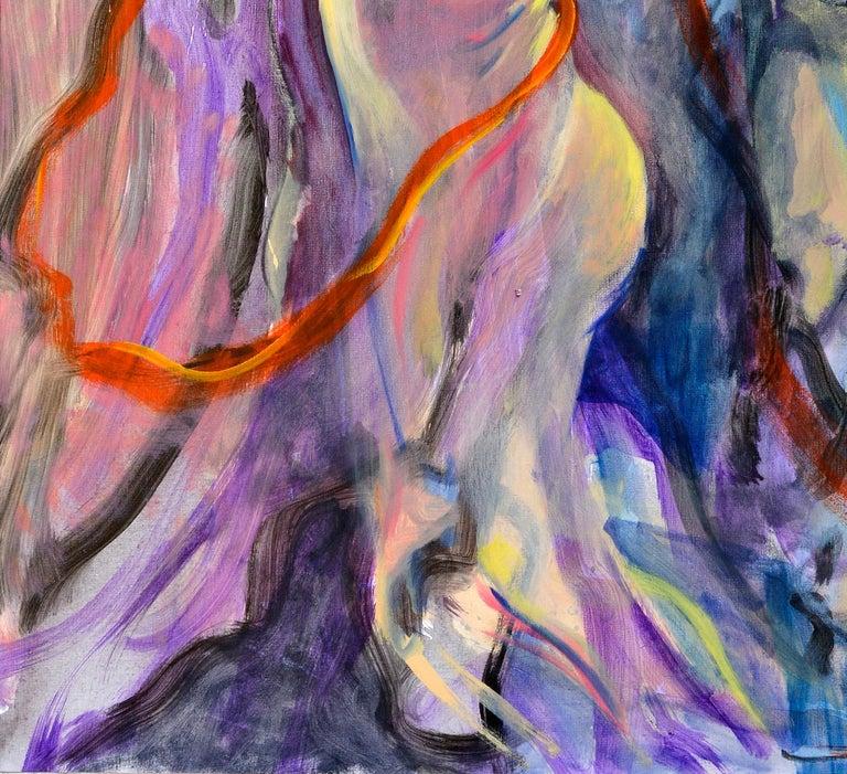 L'enlèvement d'Europe - Gray Nude Painting by Evelyne Ballestra