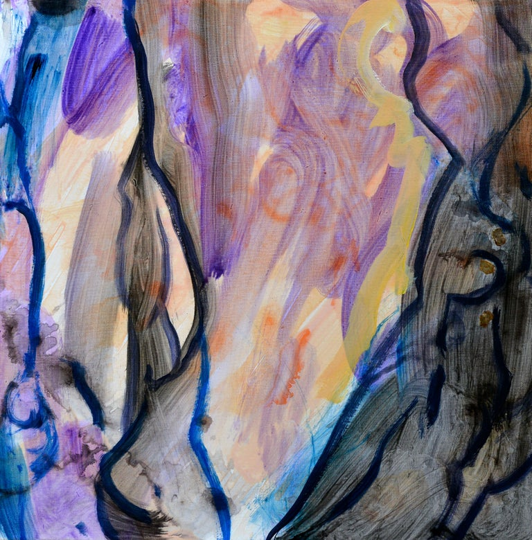 Arbre de Vie - Gray Abstract Painting by Evelyne Ballestra