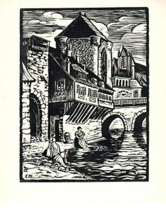 1939 Evelynne Messager 'Washday in Moret' Modernism Black & White Woodblock