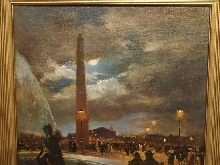 Evening at La Place De La Concorde, Paris by Paul Balmigere, '1882-1953' For Sale 4