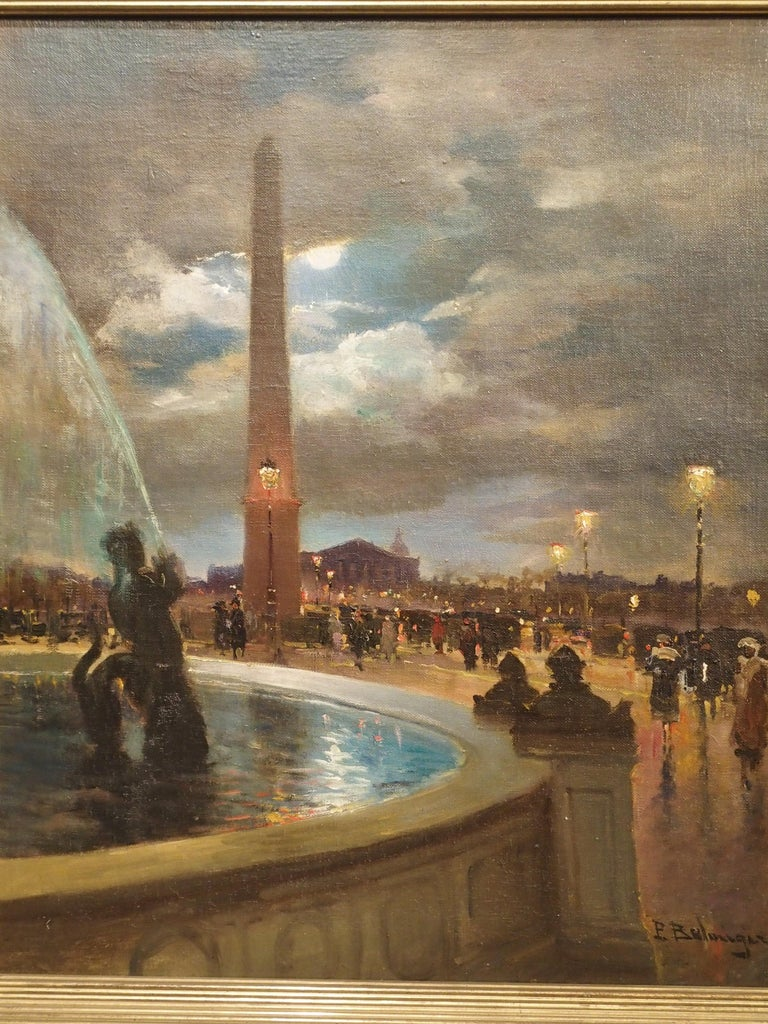 This oil on canvas painting depicts the famous La Place de la Concorde in Paris. It is by the French painter, Paul Balmigere (1882-1953), who became known for his Parisian cityscapes as well as rural landscapes. His play on light is particularly