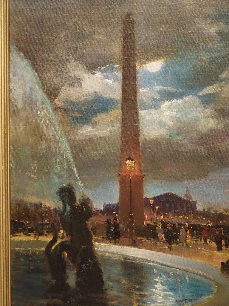 Evening at La Place De La Concorde, Paris by Paul Balmigere, '1882-1953' In Good Condition For Sale In Dallas, TX