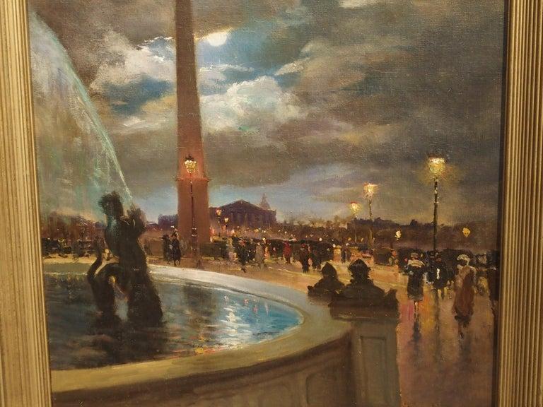 Canvas Evening at La Place De La Concorde, Paris by Paul Balmigere, '1882-1953' For Sale
