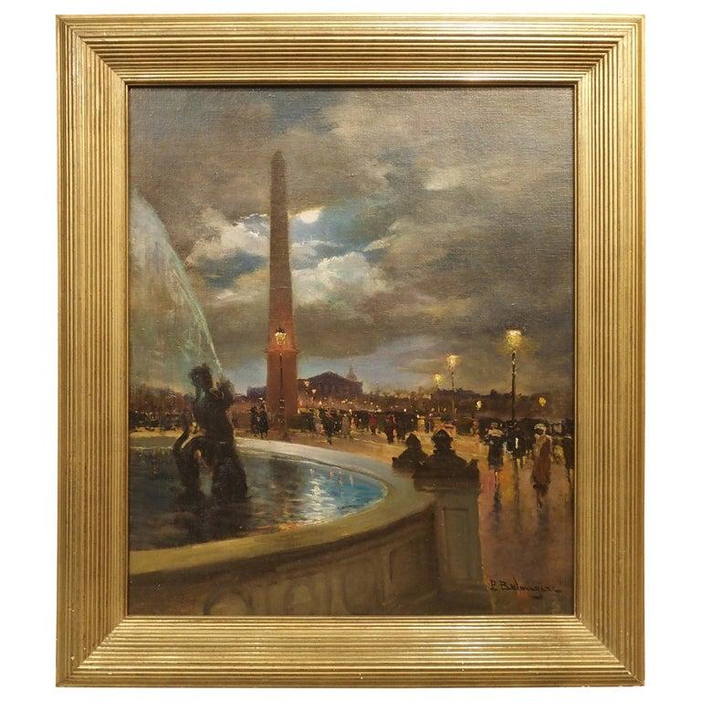 Evening at La Place De La Concorde, Paris by Paul Balmigere, '1882-1953' For Sale