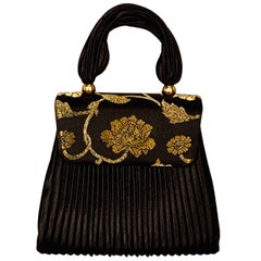 Evening Bag with Black Fortuny Style Pleats and Gold and Silver Brocade Accent
