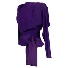 Evening Blouse In Purple Silk Ottoman Yves Saint Laurent Couture Circa 1990