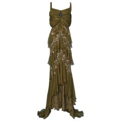 Evening gown in pearl sequined lace chiffon long dress by John Galliano