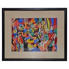 "Everett Charles Boyd ""Mardi Gras"" Original Abstract Watercolor, Mid-20th Century"