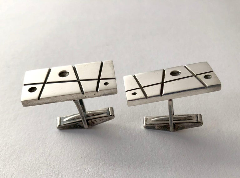 Everett MacDonald Sterling Silver American Modernist Cufflinks In Good Condition For Sale In Los Angeles, CA