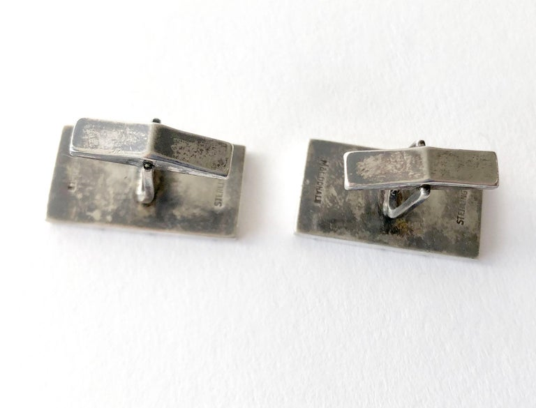 Men's Everett MacDonald Sterling Silver American Modernist Cufflinks For Sale