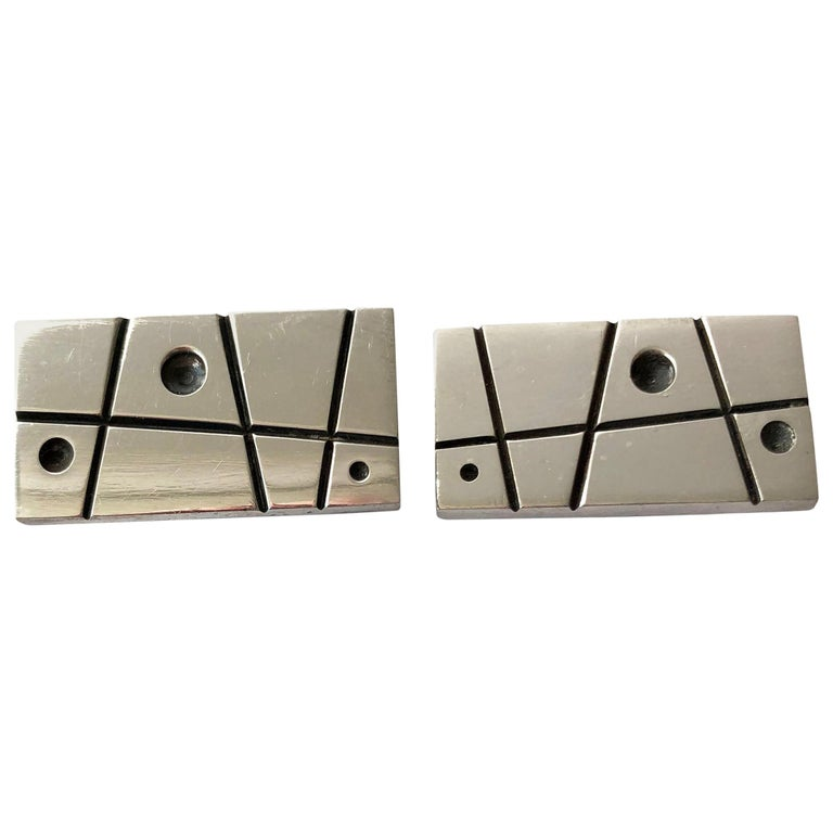 Everett MacDonald Sterling Silver American Modernist Cufflinks For Sale