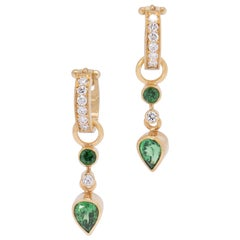 Evergreen Tsavorite Garnet and Diamond Drop Earrings in 18 Karat Gold