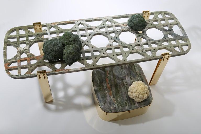 Modern Everlastingreen Table and Stool Set by Richard Yasmine For Sale