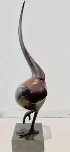 Fazant no. 9 (Pheasant) Bird Animal Bronze Sculpture Dark Brown Patina In Stock