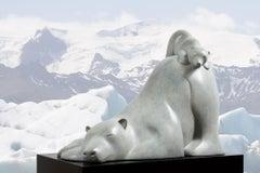 IJsbeer met Jong Polarbear with Child Bronze Sculpture Bear Contemporary