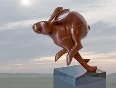 Rennende Haas no. 3 Running Hare Bronze Sculpture Animal Contemporary Art