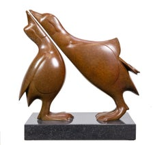 Twee Mandarijneenden no. 2 Two Mandarin Ducks Bronze Sculpture Contemporary