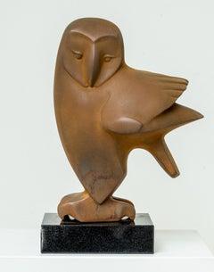 Zittende Uil no. 7 Sitting Owl Resin Sculpture Cortensteel Rusty