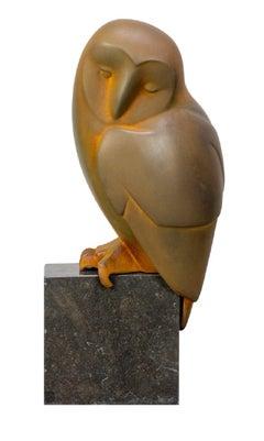 Zittende Uil no. 8 Sitting Owl Resin Sculpture Cortensteel Coating In Stock
