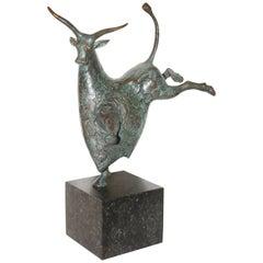 "Evert Den Hartog ""The Bull"" Decorative, Contemporary Sculpture, Bronze on Marble"