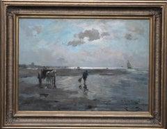 Dutch Shrimpers on a Shoreline - Dutch art 19thC Impressionist oil painting