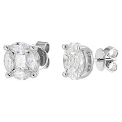 Everyday Classic Cluster Diamond White Gold Diamond Stud Earrings for Her