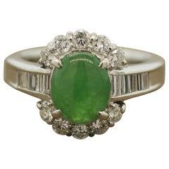 Everyday Jadeite Jade Diamond Platinum Ring