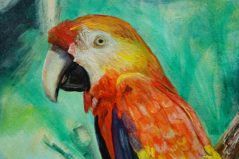 Tropical Macaw Parrot in the Jungle  - Painting by Eves Simon