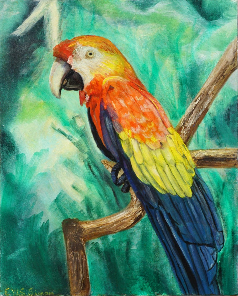 Eves Simon Animal Painting - Tropical Macaw Parrot in the Jungle